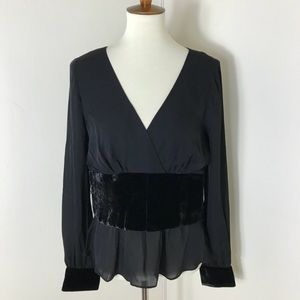 Cinq A Sept Silk top with velvet trim
